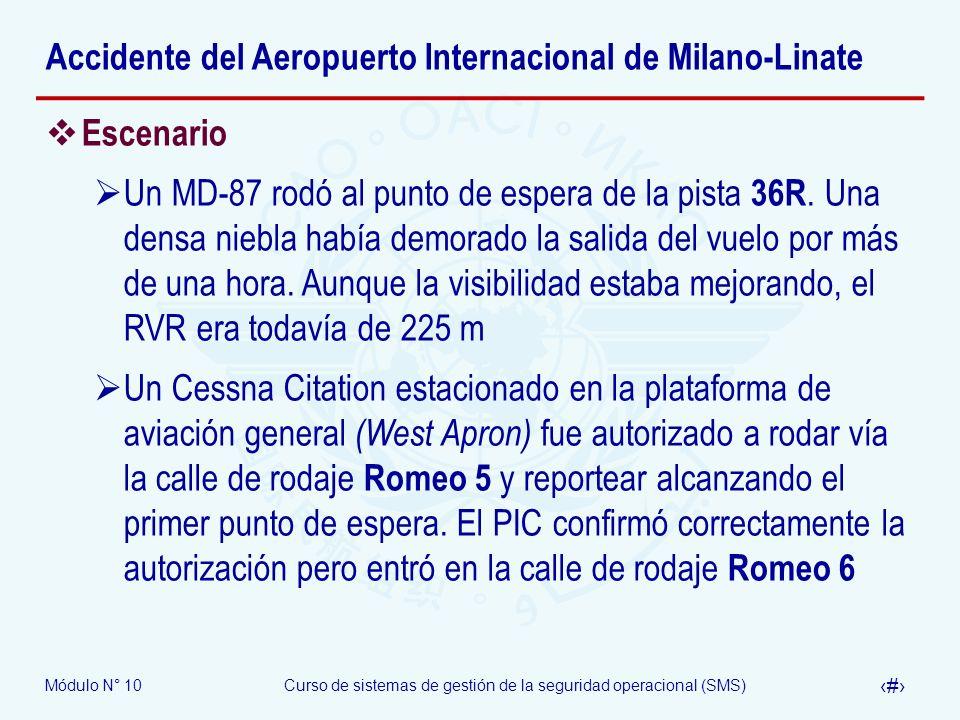 Módulo N° 10Curso de sistemas de gestión de la seguridad operacional (SMS) 28 Accidente del Aeropuerto Internacional de Milano-Linate Escenario Un MD-