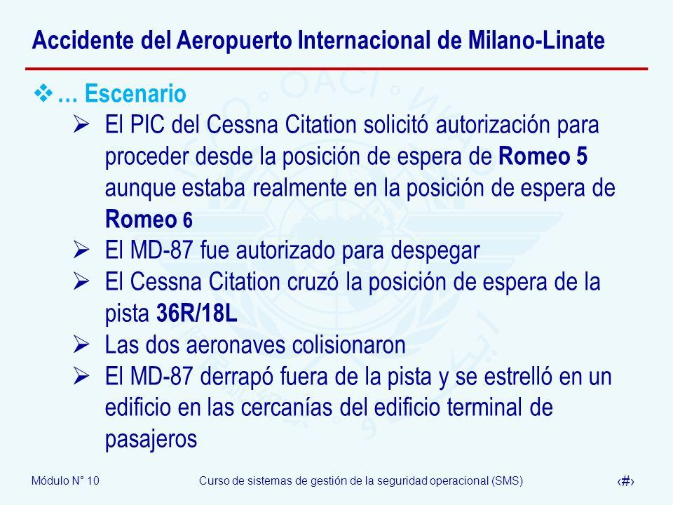 Módulo N° 10Curso de sistemas de gestión de la seguridad operacional (SMS) 29 Accidente del Aeropuerto Internacional de Milano-Linate … Escenario El P