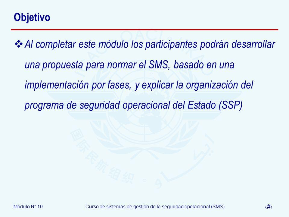 Módulo N° 10Curso de sistemas de gestión de la seguridad operacional (SMS) 14 Programa de seguridad operacional del Estado Definición Un conjunto integrado de reglamentos y actividades encaminados a mejorar la seguridad operacional.