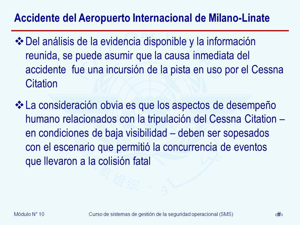 Módulo N° 10Curso de sistemas de gestión de la seguridad operacional (SMS) 34 Accidente del Aeropuerto Internacional de Milano-Linate Del análisis de