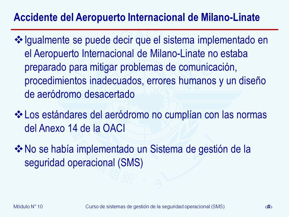 Módulo N° 10Curso de sistemas de gestión de la seguridad operacional (SMS) 35 Accidente del Aeropuerto Internacional de Milano-Linate Igualmente se pu