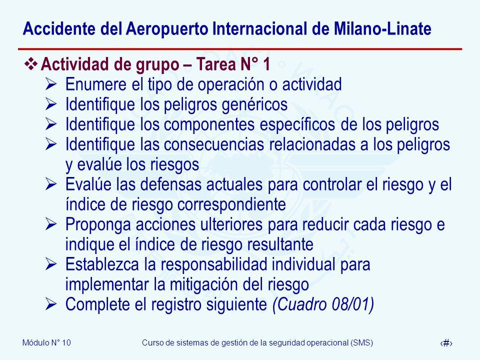 Módulo N° 10Curso de sistemas de gestión de la seguridad operacional (SMS) 36 Accidente del Aeropuerto Internacional de Milano-Linate Actividad de gru