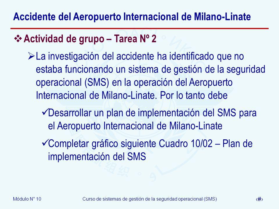 Módulo N° 10Curso de sistemas de gestión de la seguridad operacional (SMS) 38 Accidente del Aeropuerto Internacional de Milano-Linate Actividad de gru