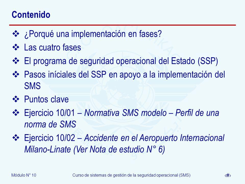 Módulo N° 10Curso de sistemas de gestión de la seguridad operacional (SMS) 4 Contenido ¿Porqué una implementación en fases? Las cuatro fases El progra