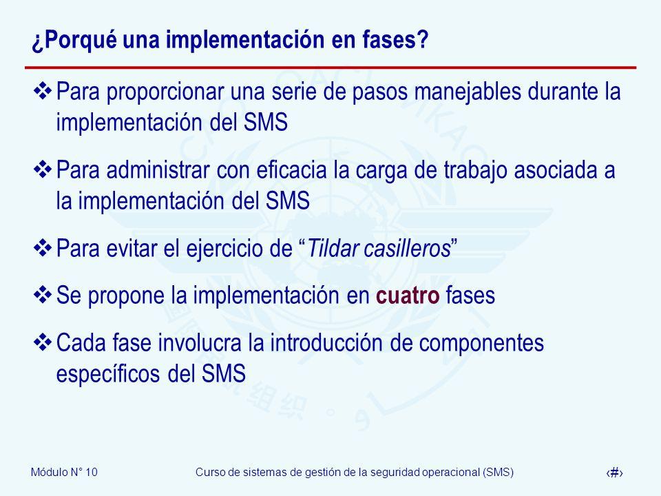 Módulo N° 10Curso de sistemas de gestión de la seguridad operacional (SMS) 16 Estructura OACI del SSP 1.Políticas y objetivos de seguridad operacional del Estado 1.1 Legislación de seguridad operacional del Estado 1.2 Responsabilidades de seguridad operacional del Estado 1.3 Investigación de accidentes e incidentes 1.4 Política de sanciones 2.Gestión de riesgo de seguridad operacional del Estado 2.1 Requerimientos de seguridad operacional para el SMS de los proveedores de servicios 2.2 Acuerdo sobre desempeño de la seguridad operacional de los proveedores de servicios 3.Garantía de la seguridad operacional por el Estado 3.1 Vigilancia de la seguridad operacional 3.2 Colección, análisis e intercambio de datos de seguridad operacional 3.3 Sobre la base de datos de seguridad operacional, concentración de la vigilancia operacional en las áreas de mayor prioridad o necesidad 4.Promoción de la seguridad operacional por el Estado 4.1 Capacitación, comunicación y diseminación de información sobre seguridad operacional en forma interna 4.2 Capacitación, comunicación y diseminación de información sobre seguridad operacional en forma externa