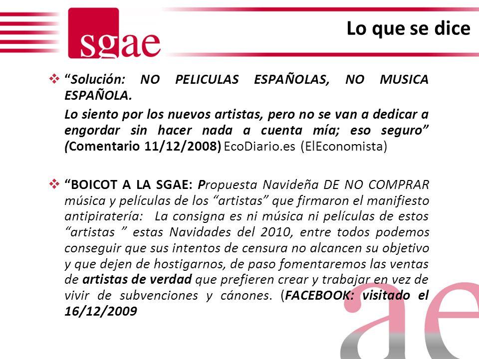 Gestión de derechos en SGAE Asociación de carácter privado Tipo de obras representadas por SGAE: Artes Escénicas - Teatro, Danza, Ballet, Opera, etc.
