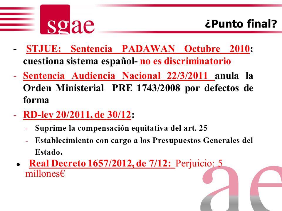 SISTEMAS BASADOS EN CANON ES* *(hasta 30/12/2011) FR NL BE HU PL Valoración inicial de perjuicio (exclusión uso profesional) Aplicación a todos los eq