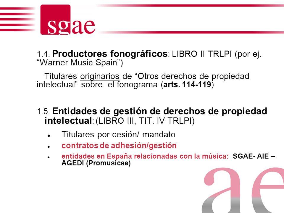 Editor (LIBRO I TRLPI), (Por ej., Ediciones Rodrigo) Titular derivado de derechos de autor : contrato de edición (arts. 58-73) Artistas intérpretes o