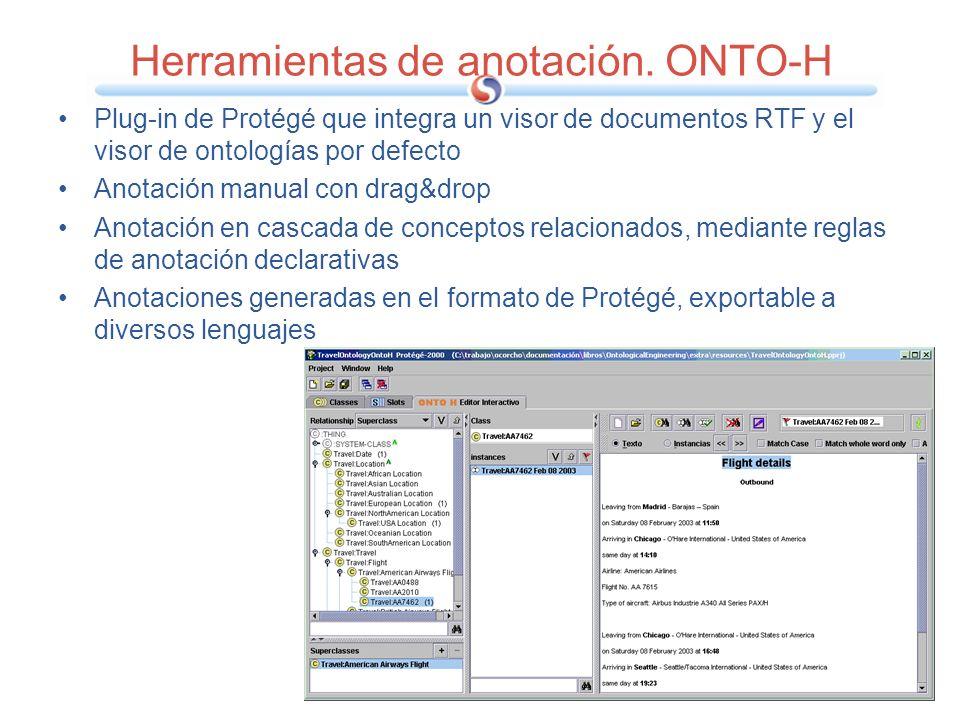 Herramientas de anotación. ONTO-H Plug-in de Protégé que integra un visor de documentos RTF y el visor de ontologías por defecto Anotación manual con