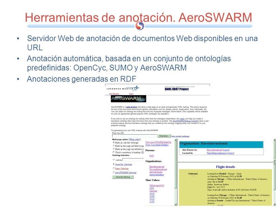 Herramientas de anotación. AeroSWARM Servidor Web de anotación de documentos Web disponibles en una URL Anotación automática, basada en un conjunto de