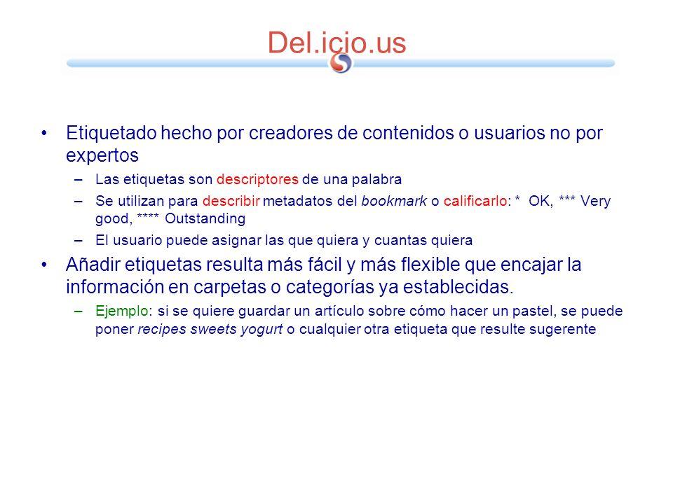 Del.icio.us Etiquetado hecho por creadores de contenidos o usuarios no por expertos –Las etiquetas son descriptores de una palabra –Se utilizan para d