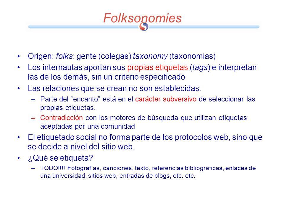 Folksonomies Origen: folks: gente (colegas) taxonomy (taxonomias) Los internautas aportan sus propias etiquetas (tags) e interpretan las de los demás,