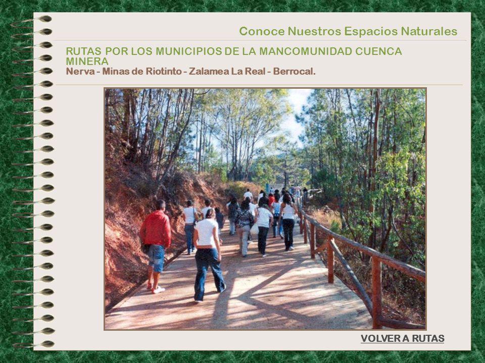 Conoce Nuestros Espacios Naturales RUTAS POR LOS MUNICIPIOS DE LA MANCOMUNIDAD CUENCA MINERA Nerva - Minas de Riotinto - Zalamea La Real - Berrocal. V