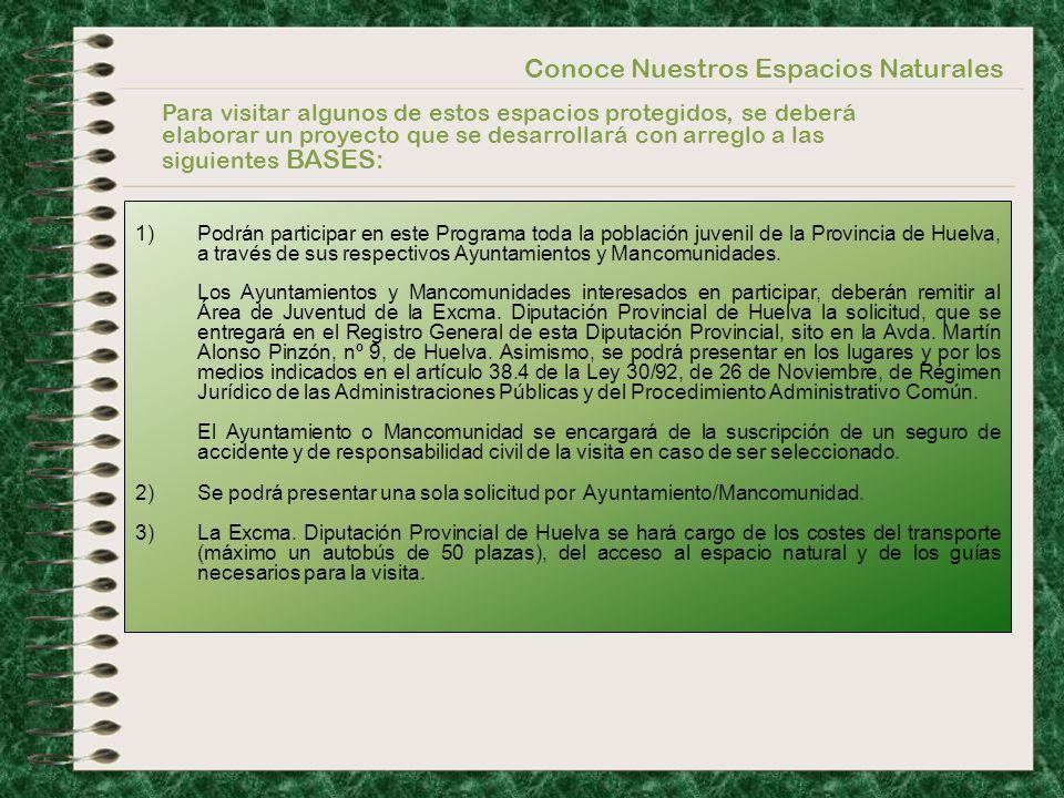 Conoce Nuestros Espacios Naturales 1)Podrán participar en este Programa toda la población juvenil de la Provincia de Huelva, a través de sus respectiv