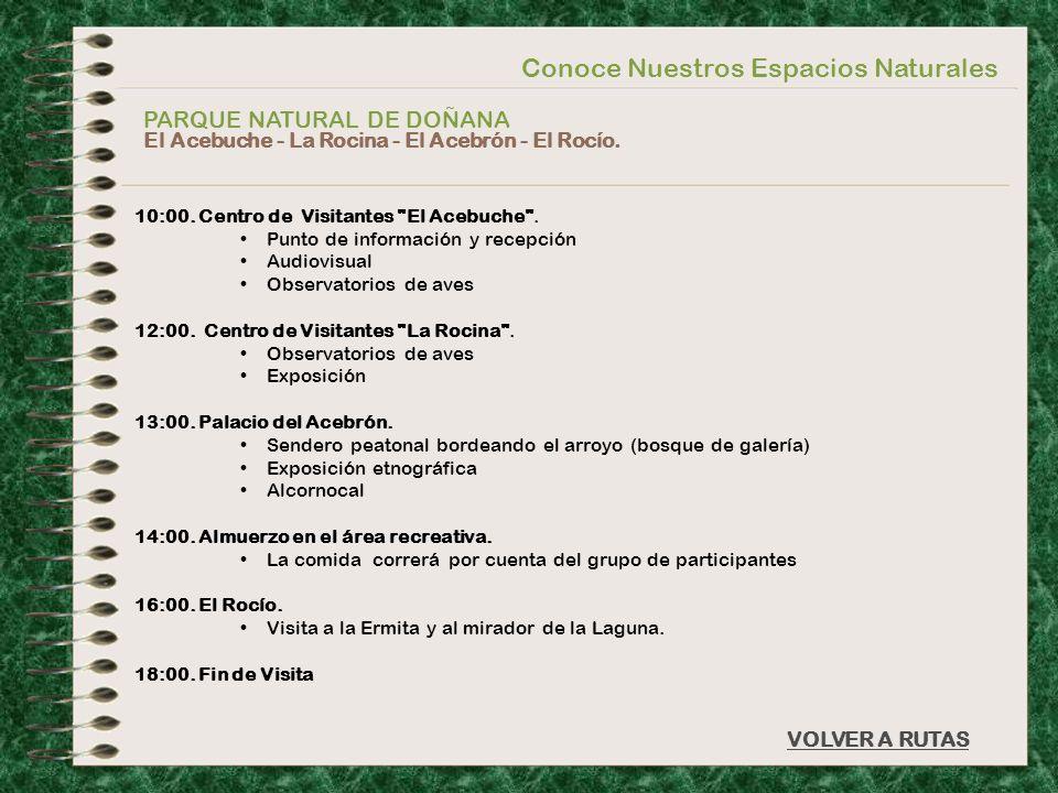 Conoce Nuestros Espacios Naturales PARQUE NATURAL DE DOÑANA El Acebuche - La Rocina - El Acebrón - El Rocío. VOLVER A RUTAS 10:00. Centro de Visitante