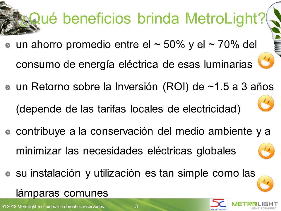 3 © 2013 Metrolight Inc. todos los derechos reservados 3 ¿Qué beneficios brinda MetroLight.