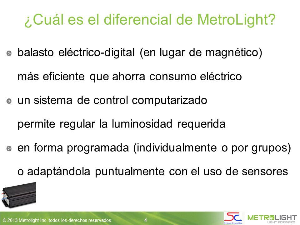 4 © 2013 Metrolight Inc. todos los derechos reservados 4 ¿Cuál es el diferencial de MetroLight.
