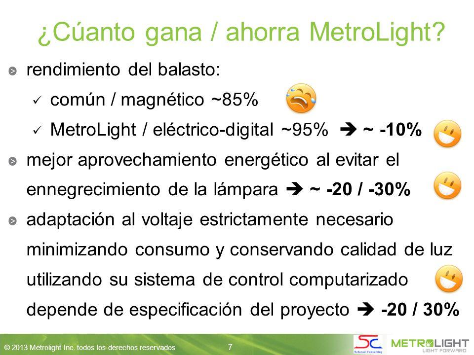 7 © 2013 Metrolight Inc. todos los derechos reservados 7 ¿Cúanto gana / ahorra MetroLight.