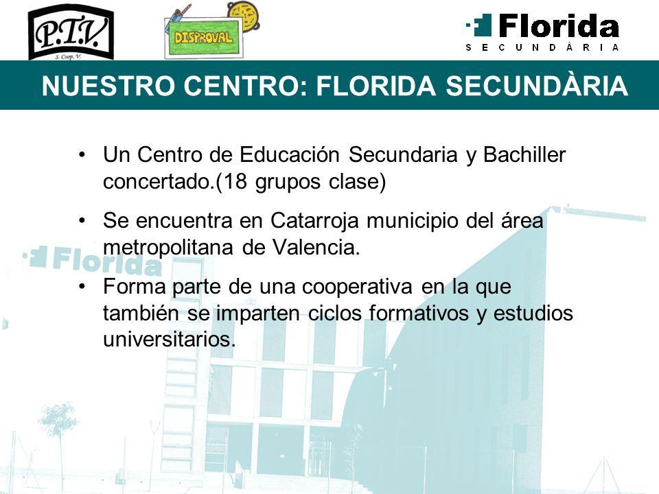 NUESTRO CENTRO: FLORIDA SECUNDÀRIA Un Centro de Educación Secundaria y Bachiller concertado.(18 grupos clase) Se encuentra en Catarroja municipio del
