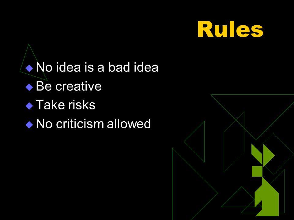 Rules No idea is a bad idea Be creative Take risks No criticism allowed