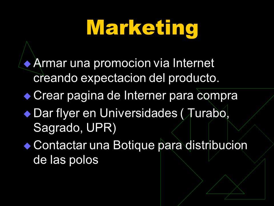 Marketing Armar una promocion via Internet creando expectacion del producto. Crear pagina de Interner para compra Dar flyer en Universidades ( Turabo,
