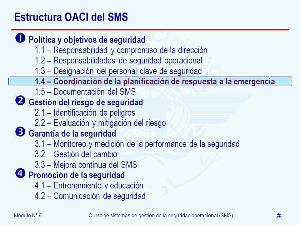 Módulo N° 8Curso de sistemas de gestión de la seguridad operacional (SMS) 31 Estructura OACI del SMS Política y objetivos de seguridad 1.1 – Responsab