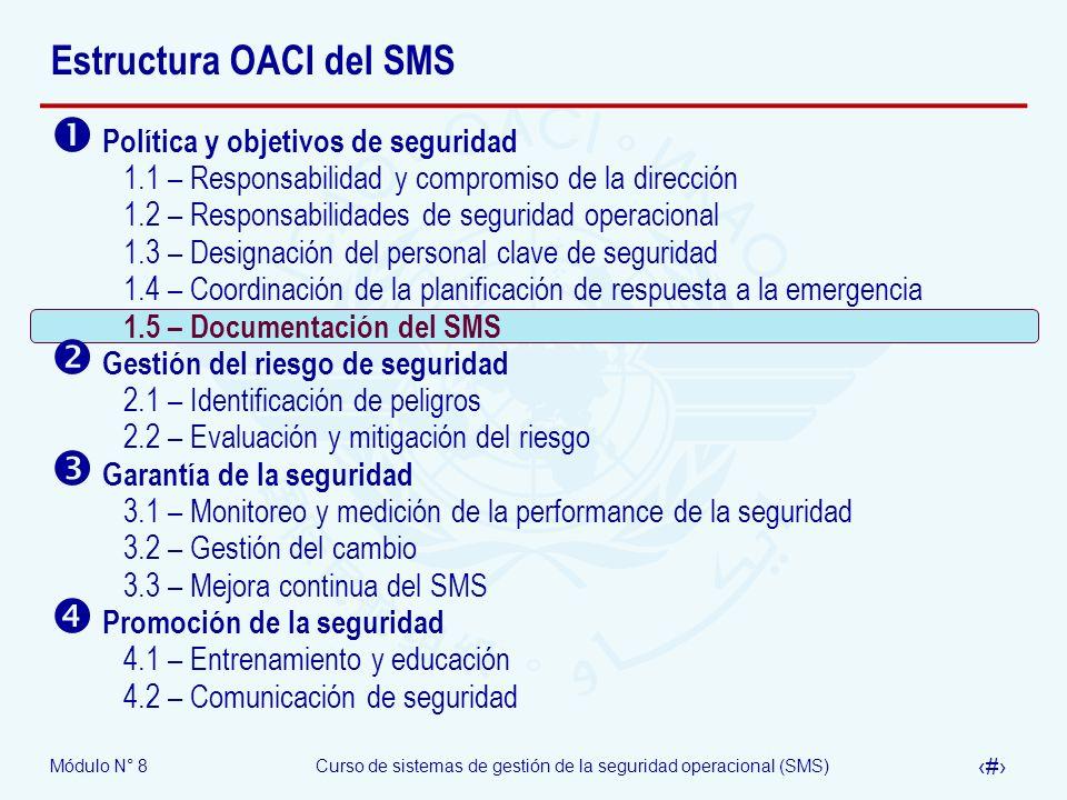 Módulo N° 8Curso de sistemas de gestión de la seguridad operacional (SMS) 34 Estructura OACI del SMS Política y objetivos de seguridad 1.1 – Responsab