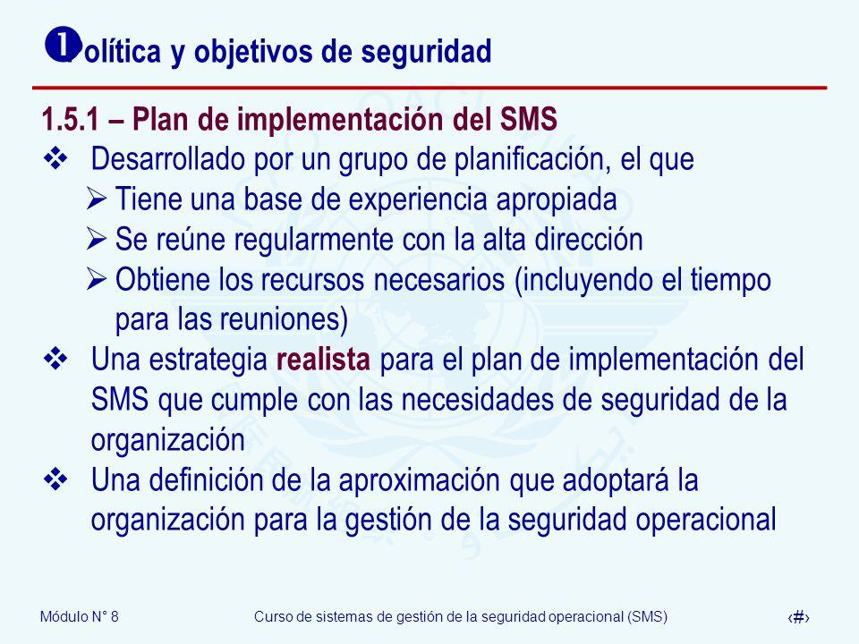 Módulo N° 8Curso de sistemas de gestión de la seguridad operacional (SMS) 37 Política y objetivos de seguridad 1.5.1 – Plan de implementación del SMS