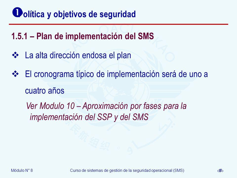 Módulo N° 8Curso de sistemas de gestión de la seguridad operacional (SMS) 38 Política y objetivos de seguridad 1.5.1 – Plan de implementación del SMS