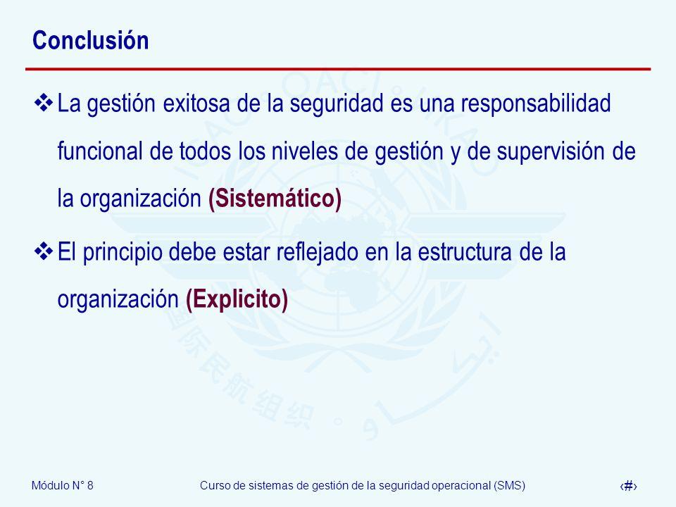 Módulo N° 8Curso de sistemas de gestión de la seguridad operacional (SMS) 42 Conclusión La gestión exitosa de la seguridad es una responsabilidad func