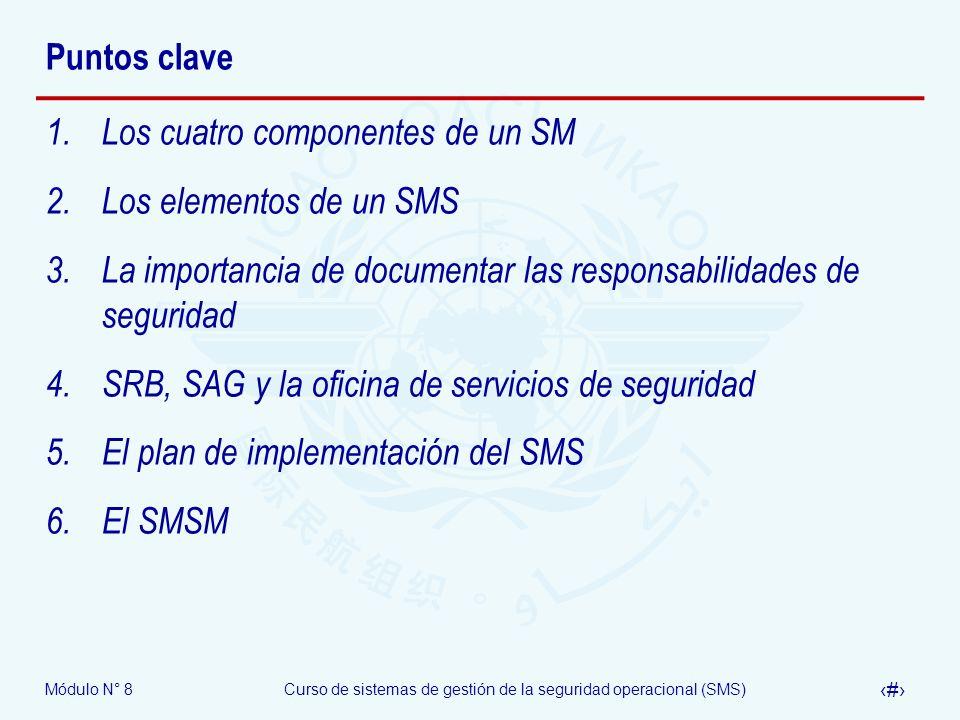 Módulo N° 8Curso de sistemas de gestión de la seguridad operacional (SMS) 48 Puntos clave 1.Los cuatro componentes de un SM 2.Los elementos de un SMS