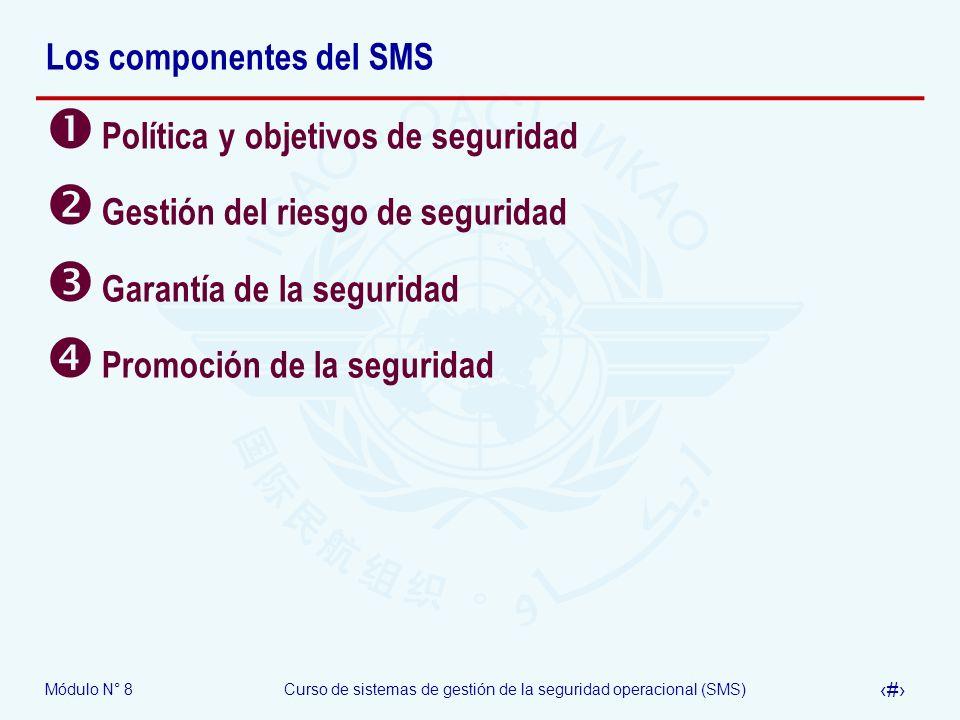 Módulo N° 8Curso de sistemas de gestión de la seguridad operacional (SMS) 5 Los componentes del SMS Política y objetivos de seguridad Gestión del ries