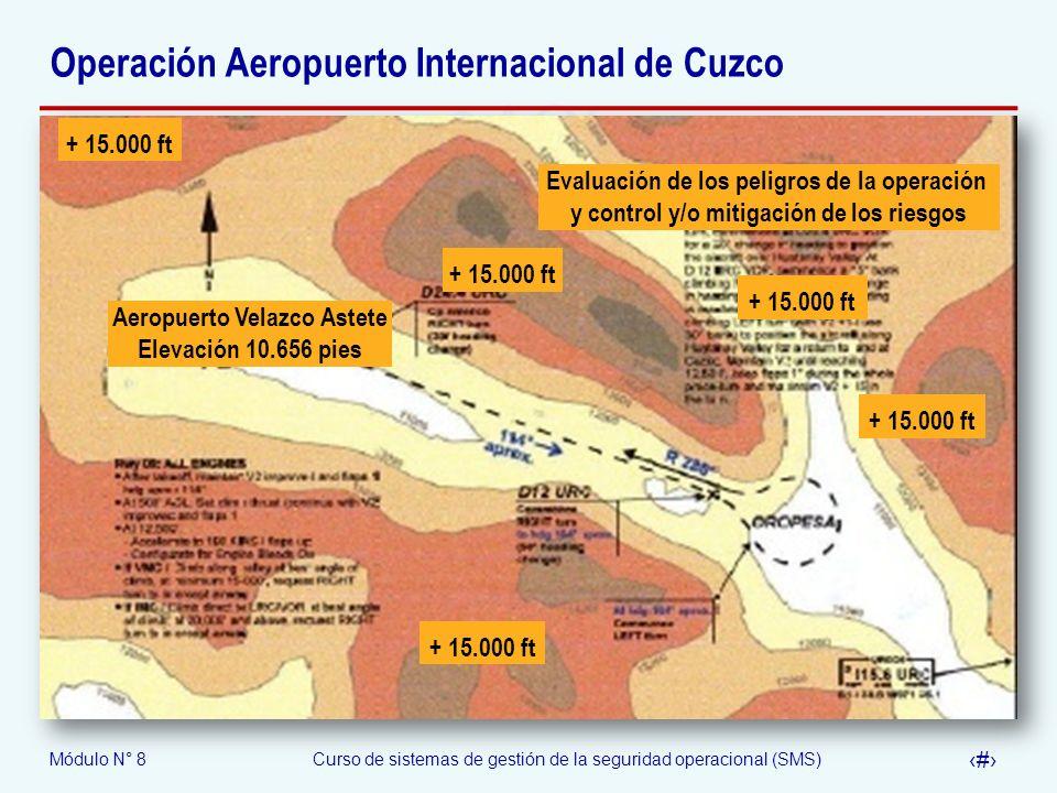Módulo N° 8Curso de sistemas de gestión de la seguridad operacional (SMS) 51 Operación Aeropuerto Internacional de Cuzco Aeropuerto Velazco Astete Ele