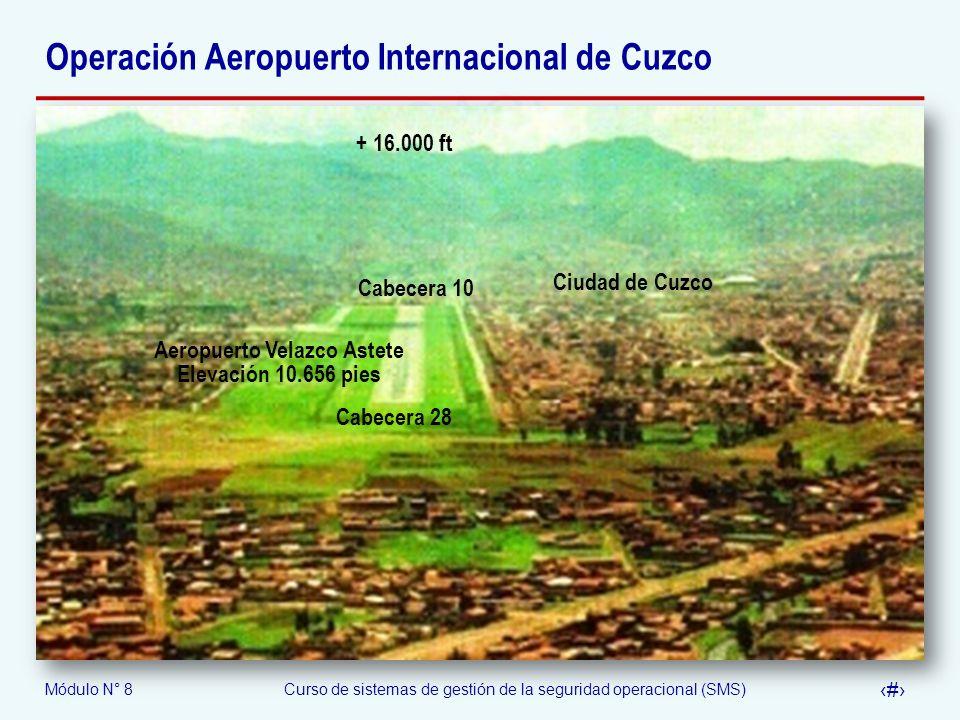 Módulo N° 8Curso de sistemas de gestión de la seguridad operacional (SMS) 53 Operación Aeropuerto Internacional de Cuzco + 16.000 ft Ciudad de Cuzco C