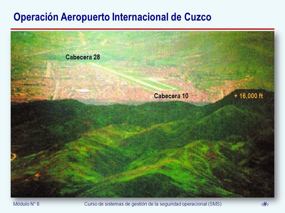 Módulo N° 8Curso de sistemas de gestión de la seguridad operacional (SMS) 54 Operación Aeropuerto Internacional de Cuzco Cabecera 28 Cabecera 10 + 16.