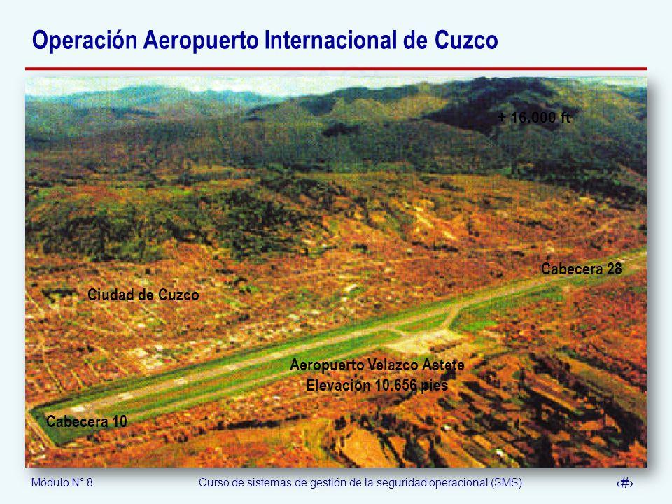 Módulo N° 8Curso de sistemas de gestión de la seguridad operacional (SMS) 55 Operación Aeropuerto Internacional de Cuzco Cabecera 10 Cabecera 28 + 16.