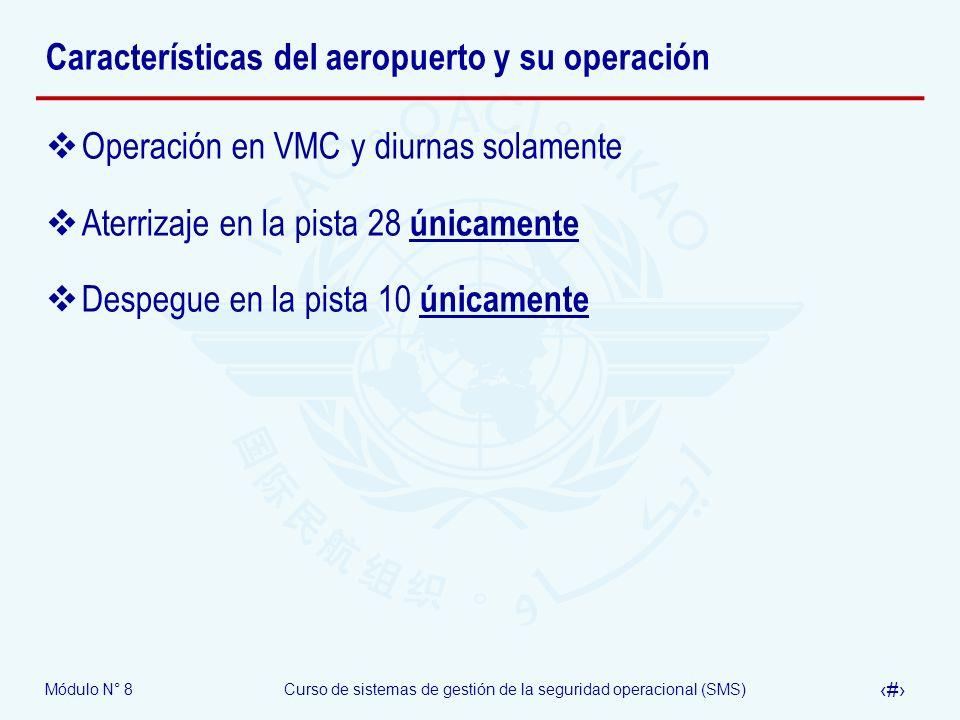 Módulo N° 8Curso de sistemas de gestión de la seguridad operacional (SMS) 56 Características del aeropuerto y su operación Operación en VMC y diurnas