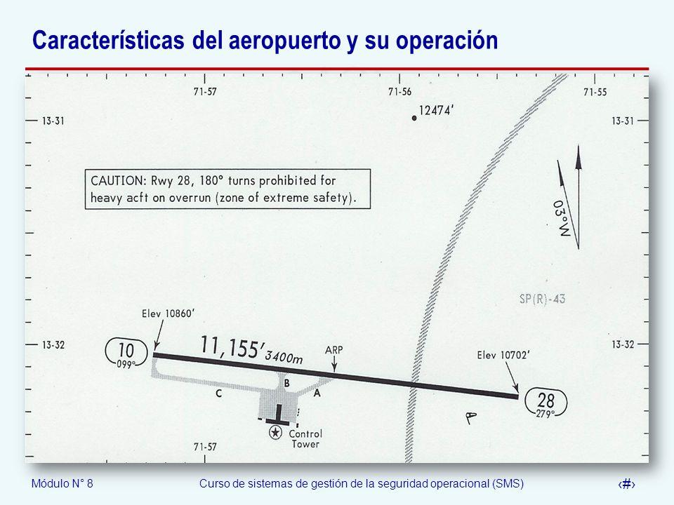 Módulo N° 8Curso de sistemas de gestión de la seguridad operacional (SMS) 58 Características del aeropuerto y su operación