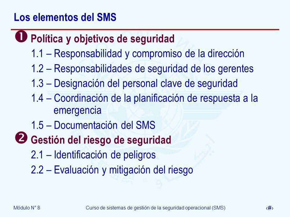 Módulo N° 8Curso de sistemas de gestión de la seguridad operacional (SMS) 6 Los elementos del SMS Política y objetivos de seguridad 1.1 – Responsabili