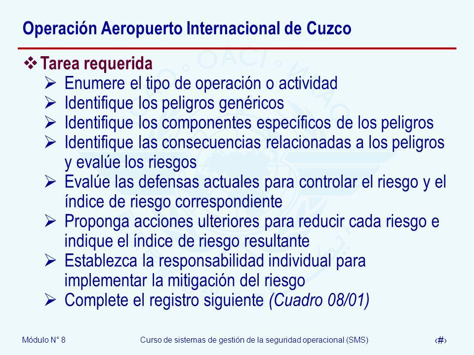 Módulo N° 8Curso de sistemas de gestión de la seguridad operacional (SMS) 60 Operación Aeropuerto Internacional de Cuzco Tarea requerida Enumere el ti
