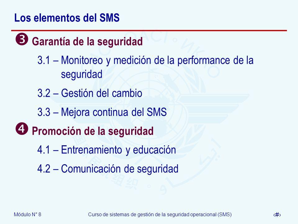 Módulo N° 8Curso de sistemas de gestión de la seguridad operacional (SMS) 7 Los elementos del SMS Garantía de la seguridad 3.1 – Monitoreo y medición