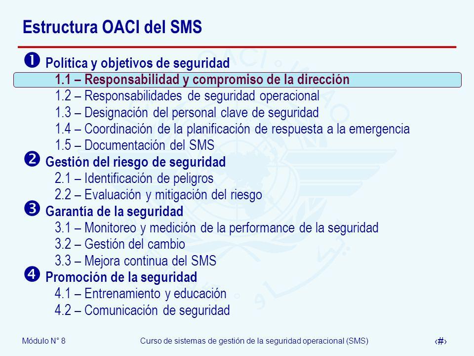 Módulo N° 8Curso de sistemas de gestión de la seguridad operacional (SMS) 8 Estructura OACI del SMS Política y objetivos de seguridad 1.1 – Responsabi