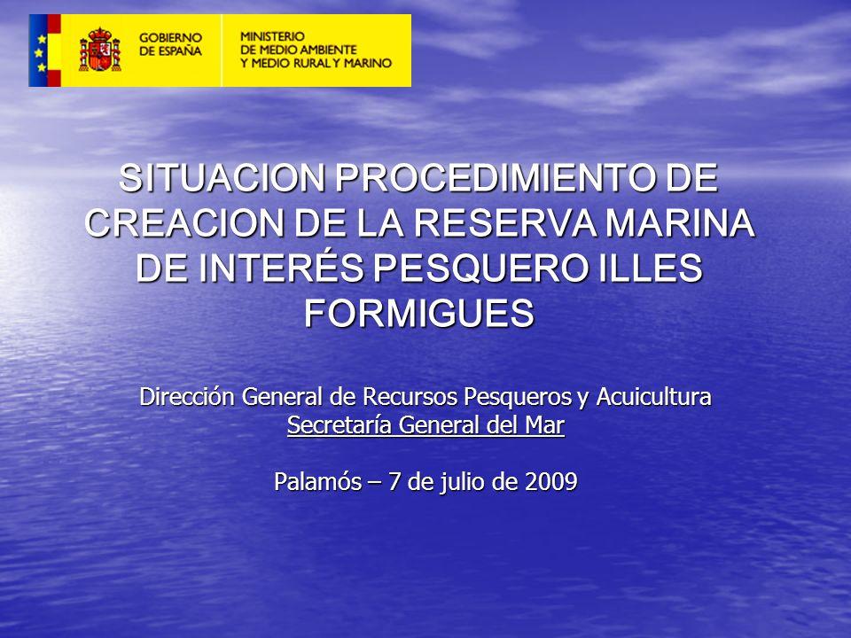 SITUACION PROCEDIMIENTO DE CREACION DE LA RESERVA MARINA DE INTERÉS PESQUERO ILLES FORMIGUES Dirección General de Recursos Pesqueros y Acuicultura Sec