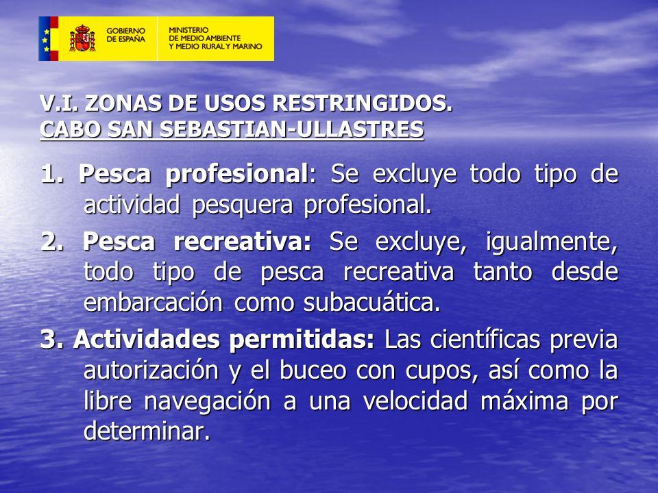 V.I. ZONAS DE USOS RESTRINGIDOS. CABO SAN SEBASTIAN-ULLASTRES 1. Pesca profesional: Se excluye todo tipo de actividad pesquera profesional. 2. Pesca r