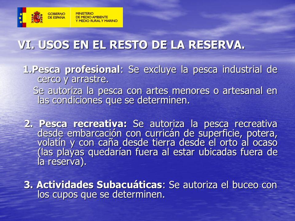 VI. USOS EN EL RESTO DE LA RESERVA. 1.Pesca profesional: Se excluye la pesca industrial de cerco y arrastre. 1.Pesca profesional: Se excluye la pesca
