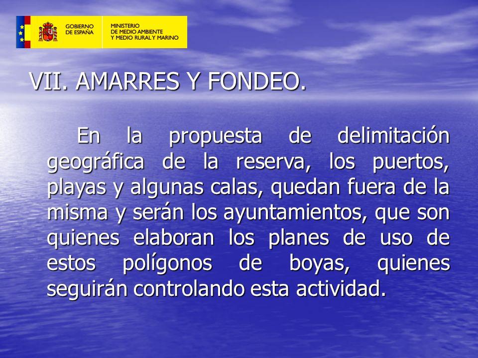 VII. AMARRES Y FONDEO. En la propuesta de delimitación geográfica de la reserva, los puertos, playas y algunas calas, quedan fuera de la misma y serán