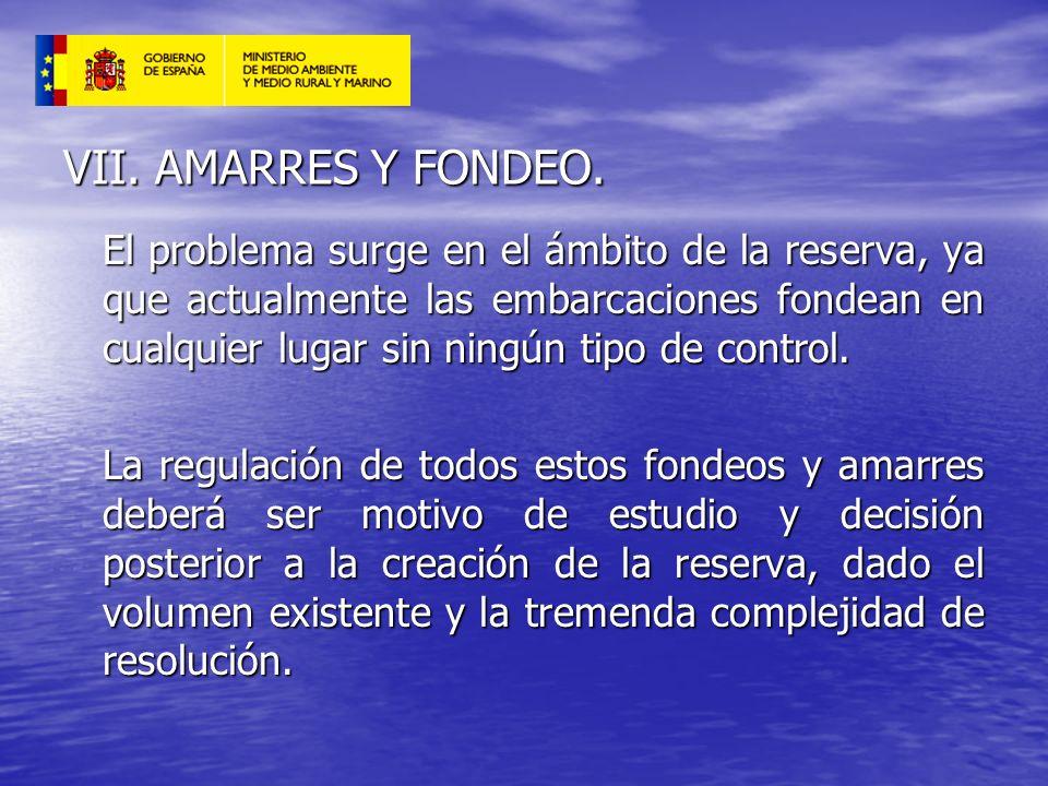 VII. AMARRES Y FONDEO. El problema surge en el ámbito de la reserva, ya que actualmente las embarcaciones fondean en cualquier lugar sin ningún tipo d