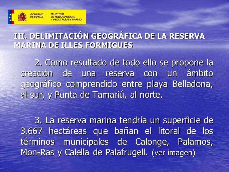 III. DELIMITACIÓN GEOGRÁFICA DE LA RESERVA MARINA DE ILLES FORMIGUES 2. Como resultado de todo ello se propone la creación de una reserva con un ámbit