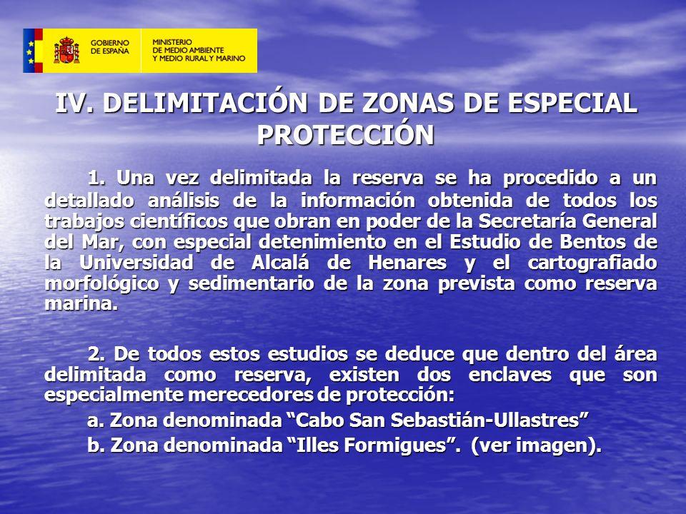 IV. DELIMITACIÓN DE ZONAS DE ESPECIAL PROTECCIÓN 1. Una vez delimitada la reserva se ha procedido a un detallado análisis de la información obtenida d