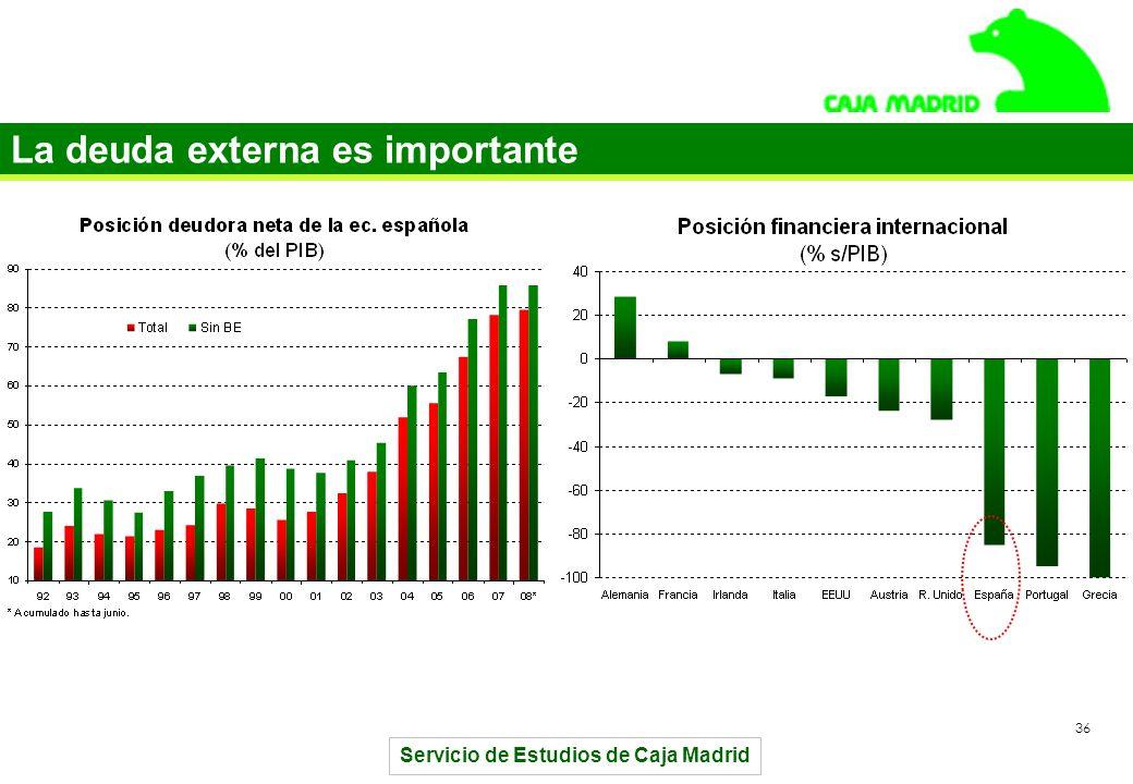 Servicio de Estudios de Caja Madrid 36 La deuda externa es importante
